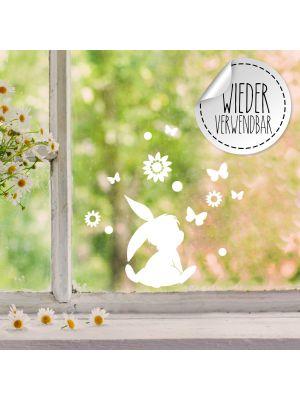 Fensterbild Fensterbilder Hase Häschen sitzend Schmetterlinge wiederverwendbar M2451