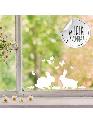 Fensterbild Fensterbilder 2 Hasen Häschen Schmetterlinge wiederverwendbar M2452