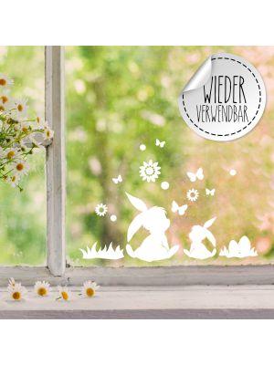 Fensterbild Fensterbilder 2 Hasen Schmetterlinge Blumen wiederverwendbar M2453