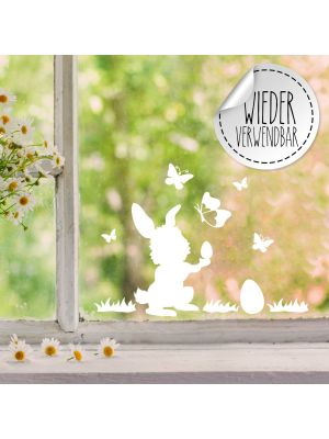 Fensterbild Fensterbilder Hase Osterei Schmetterlinge wiederverwendbar M2454