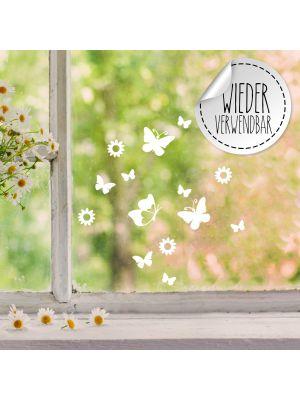 Fensterbild Fensterbilder Schmetterlinge Blumen wiederverwendbar M2455