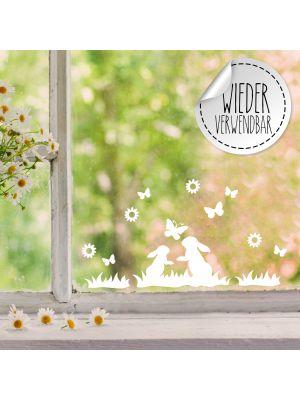 Fensterbild Fensterbilder 2 Hasen im Gras Schmetterlinge wiederverwendbar M2456