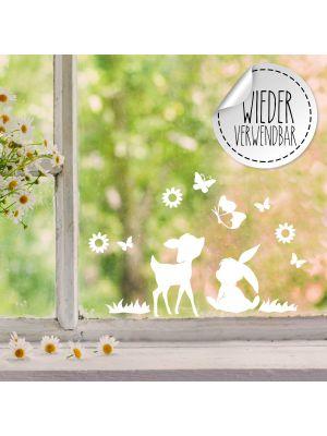 Fensterbild Fensterbilder Reh Hase Schmetterlinge Blumen wiederverwendbar M2457