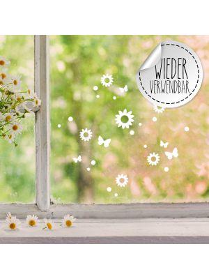 Fensterbild Fensterbilder Blumen Schmetterlinge wiederverwendbar M2458