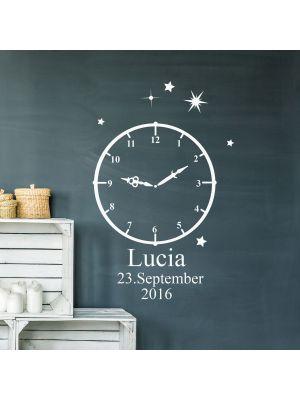 Wandtattoo Geburt Geburtszeit Uhr Wunschdaten Geburtsdaten Wunschame Sterne M2460