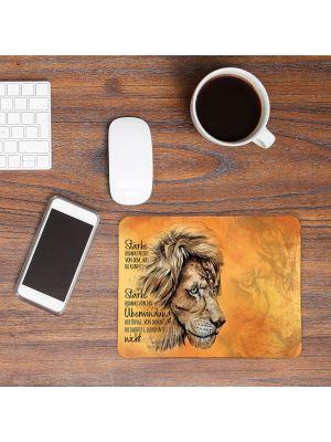 Mousepad Mauspad Löwe Stärke kommt von Überwindung mouse pad Tier Geschenk mp79