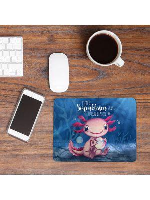 Mousepad mouse pad Mauspad Axolotl Seifenblasen statt Trübsal blasen Tier mp80