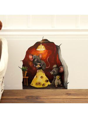 Mäusetürchen Wandtattoo Wandsticker Maus Tür Mäusetür mit Käse Sticker Aufkleber mt1