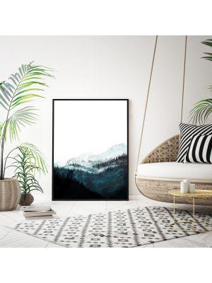 A4 oder A3 Poster Print Wandbild Bäume Wald Berge Berglandschaft Aquarell Plakat p140