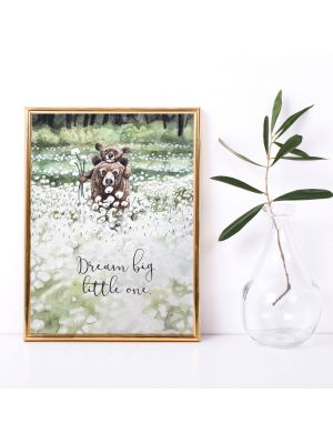 A4 Print Bär Jungtier Pusteblumen Spruch Poster Plakat Dream big little one p144