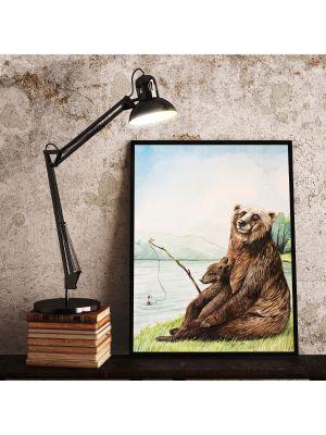 A4 Print Bär Jungtier angeln fischen Poster Plakat Druck Kinderposter p145