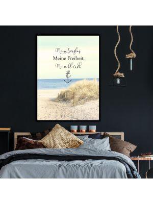 A4 oder A3 Poster Bild Print Wandbild Anker Spruch Düne