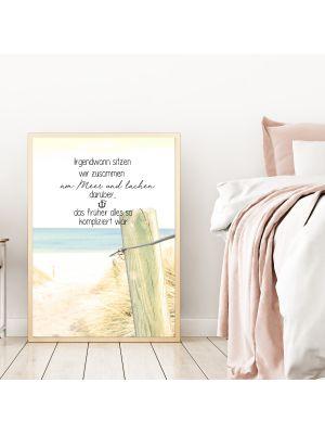 A4 oder A3 Poster Print Wandbild Küste mit Spruch
