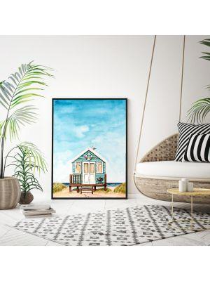 A4 oder A3 Poster Strand Aquarell Print Wandbild Strandhaus Küste Meer Kunstdruck p156