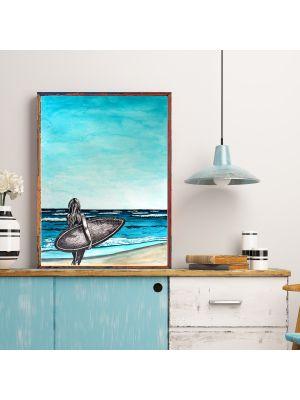 A4 oder A3 Poster Print Wandbild Frau mit Surfboard am Strand Plakat Meer p166