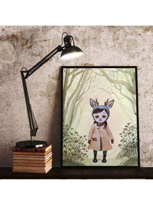 Print Poster in A3 oder A4 Rehmädchen Runi im Wald Plakat Kinderposter Druck Motiv p197