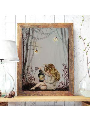 Print Poster in A3 oder A4 Einhornmädchen Elva im Wald Plakat Kinderposter Druck Motiv p199