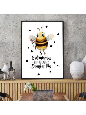 A3 Print Hummel Optimismus heißt rückwärts Sumsi mit Po Poster Plakat p225