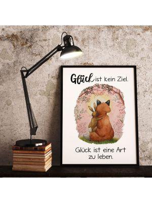 4 Print Fuchs Hase Paar Spruch Glück ist kein Ziel eine Art leben Poster Plakat Zitat p235