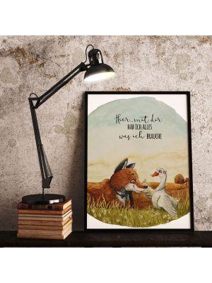 A4 Print Fuchs Gans Paar Spruch Hier mit dir Poster Plakat Motto p236