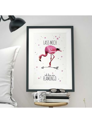 A3 Print Illustration Poster Plakat Vogel Flamingo mit Spruch
