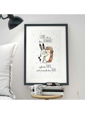 A3 Print Illustration Poster Plakat Hase und Igel mit Spruch