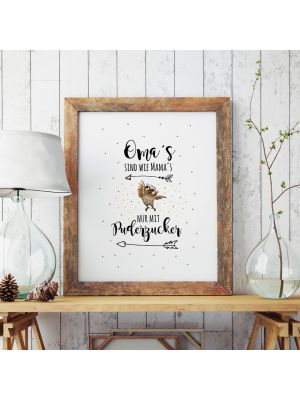 A3 Print Illustration Poster Plakat Eulchen Eule mit Spruch Oma's sind wie Mama's nur mit Puderzucker A3 Print illustration poster placard owl with quote saying grandma's are like mama's only with powdered sugar p54