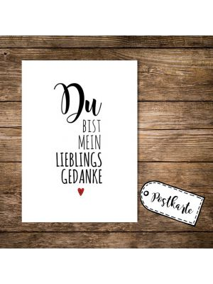 A6 Postkarte Print mit Spruch Du bist mein Lieblingsgedanke A6 postcard print with quote saying you are my favorite thought