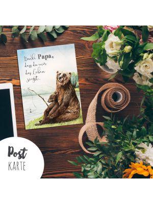 A6 Postkarte Vatertag Print Bären mit Spruch