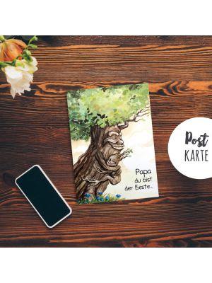 A6 Postkarte Vatertag Print Baum mit Spruch
