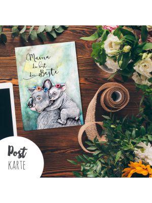 A6 Mama Muttertag Postkarte Print Koalas mit Spruch