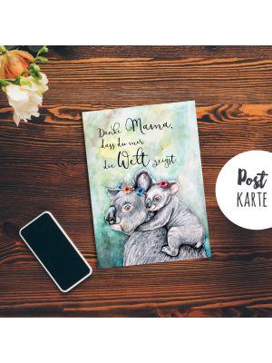 A6 Muttertag Postkarte Karte Mama Print Koalas mit Spruch