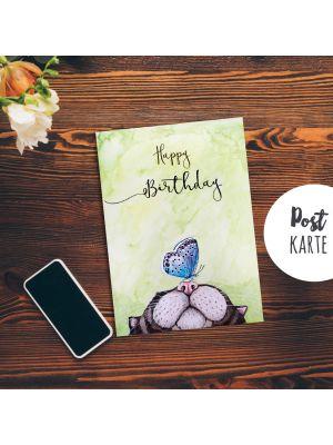 A6 Geburtstag Postkarte Print Katze und Schmetterling mit Spruch Happy Birthday pk189