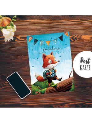 A6 Postkarte Print Fuchs & Schultasche Geburtstag Einladungskarte pk200