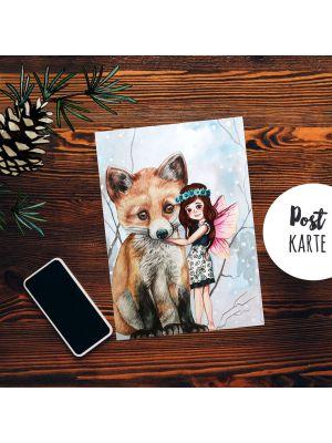 A6 Weihnachtskarte Postkarte Print Elfe Fee mit Fuchs Grußkarte Karte pk204
