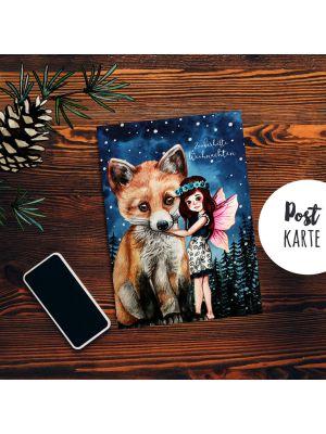 A6 Weihnachtskarte Postkarte Print Elfe Fee mit Fuchs Grußkarte Karte pk205