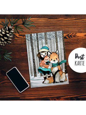 A6 Weihnachtskarte Postkarte Print Mädchen mit Fuchs Grußkarte Karte pk206