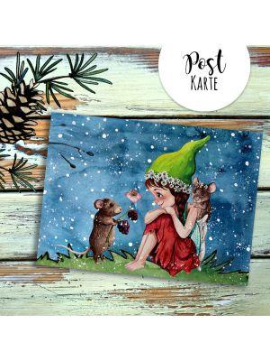 A6 Weihnachtskarte Postkarte Print Elfe Fee mit Maus Grußkarte Karte pk208