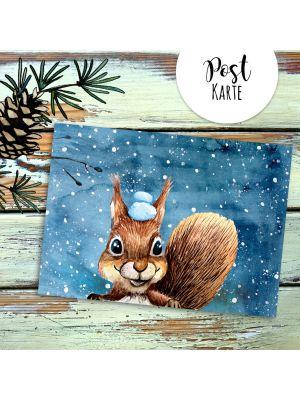 A6 Weihnachtskarte Postkarte Print Eichhörnchen mit Schnee Grußkarte Karte pk209