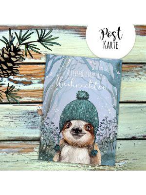 A6 Weihnachtskarte Weihnachtsgrüße Postkarte Faultier Grußkarte Allerfröhlichste Weihnachten pk223