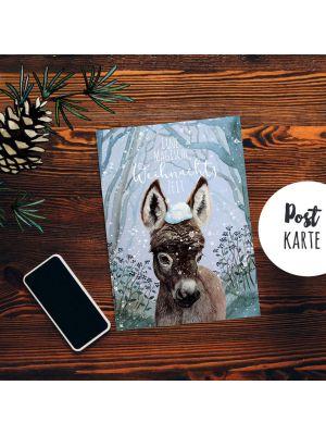 A6 Weihnachtskarte Weihnachtsgrüße Postkarte Esel Grußkarte Eine magische Weihnachtszeit pk224