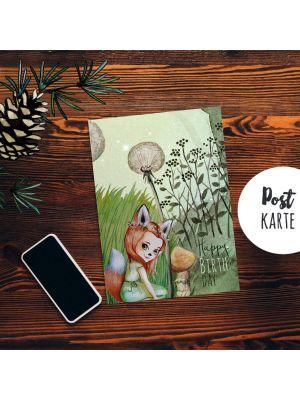 A6 Geburtstagskarte Postkarte Geburtstag Fuchsmädchen Pusteblume Wald Spruch Happy Birthday pk231