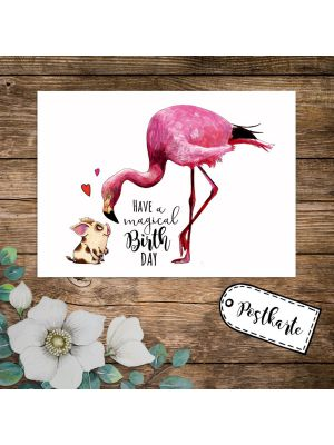 A6 Geburtstagskarte Postkarte Flamingo & Schweinchen Have a magical Birthday pk232