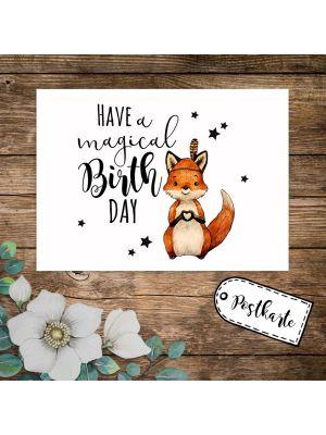 A6 Geburtstagskarte Postkarte Fuchs Indianerfuchs Have a magical Birthday pk234