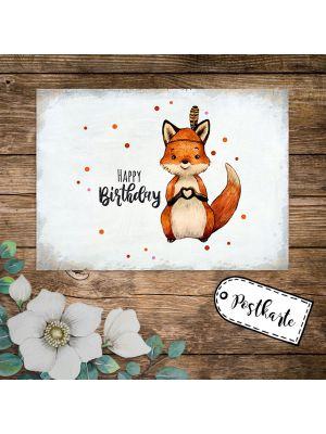 A6 Geburtstagskarte Postkarte Fuchs Indianerfuchs Happy Birthday Geschenk pk237