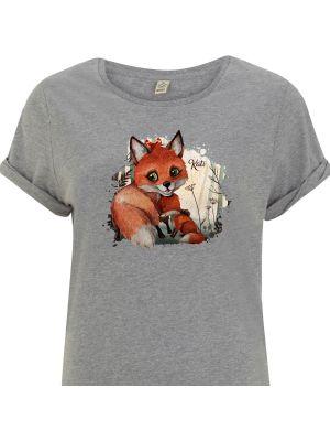 T-Shirt Damen in Grau mit Fuchs Mama & Jungtier Motiv shirt mit Namen Wunschnamen s10