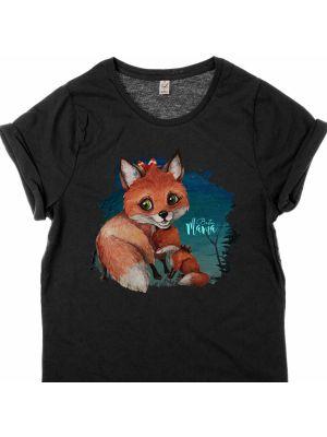 T-Shirt Fuchs Fuchsmama Junges Spruch Beste Mama shirt schwarz bedruckt s11