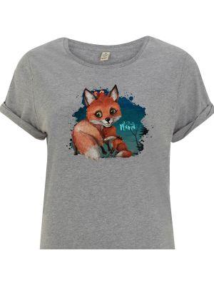 T-Shirt Damen in Grau mit Fuchs Mama & Jungtier Motiv shirt mit Spruch Beste Mama s11