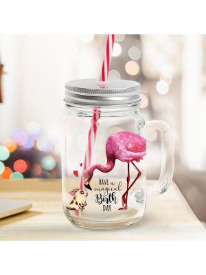 Mason Jar Trinkglas Flamingo Schwein Trinkbecher mit Spruch