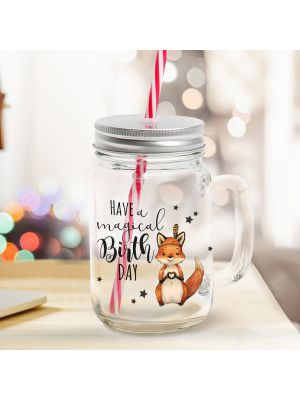 Mason Jar Trinkglas Fuchs Trinkbecher mit Spruch
